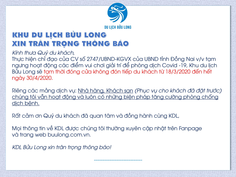 THÔNG BÁO TẠM NGƯNG HOẠT ĐỘNG KDL BỬU LONG TỪ 18/03/2020 ĐẾN HẾT NGÀY 30/04/2020